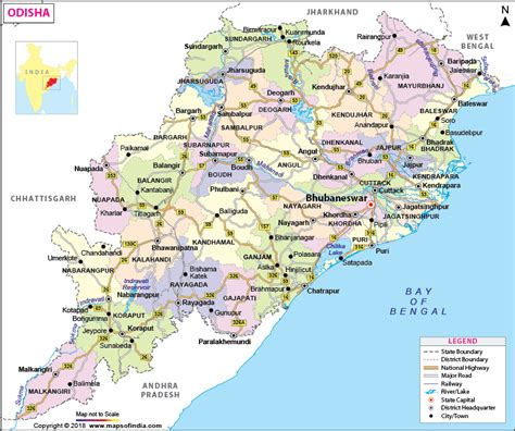 odishaorissa map state districts information  facts