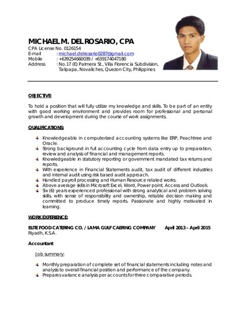 How To Show Cpa Certification On Resume by My Resume 2015 Revised