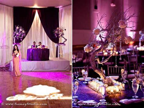 purple themed reception  ambiance  tejel maharani
