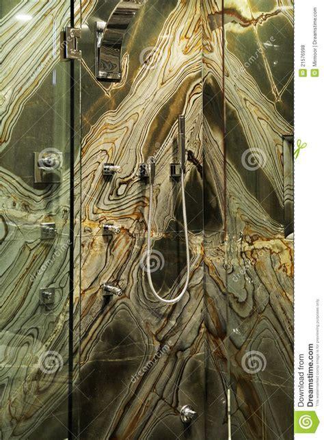 Modern Bathroom With Green Granite Walls. Royalty Free