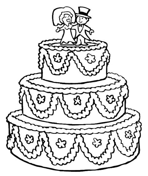 beautifully decorated wedding cake coloring pages