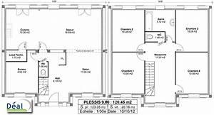 plan de maison a etage 120m2 With plan maison 4 chambres etage