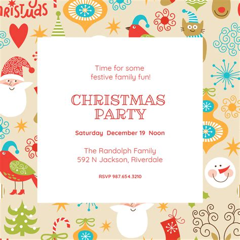 festive frame christmas invitation template