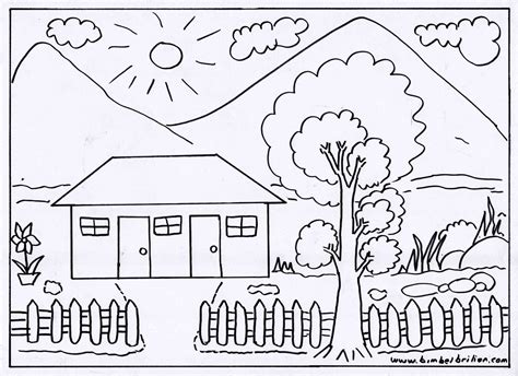 Sketsa Pemandangan Di Rumah Di Gunung Poster