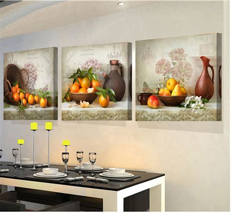 3 panels paintings for the kitchen fruit wall decor modern