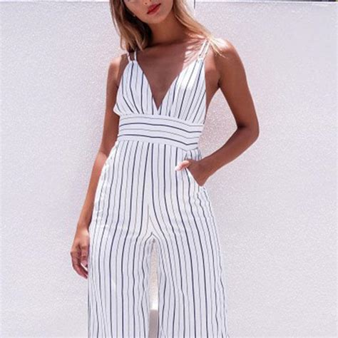 Strappy Spaghetti Strap Striped Plunge High Waisted ...
