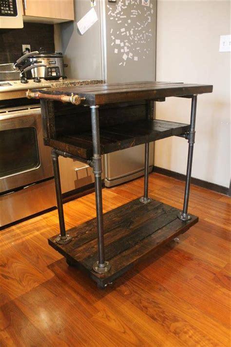 Kitchen Cart Pipe by Pallet Kitchen Cart Table Design 101 Pallets
