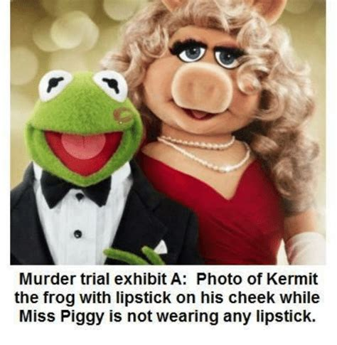 Kermit And Miss Piggy Meme - murder trial exhibit a photo of kermit the frog with lipstick on his cheek while miss piggy is