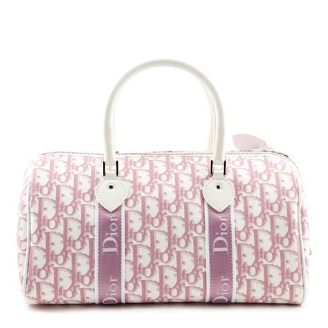 dior white pink dior oblique canvas girly flowers boston bag