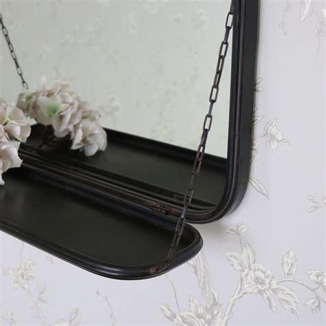 black metal vanity wall mirror  shelf flora furniture