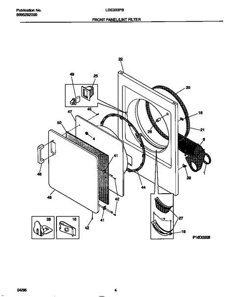 front panel lint filter diagram parts list for lde333pbw1 frigidaire parts dryer parts