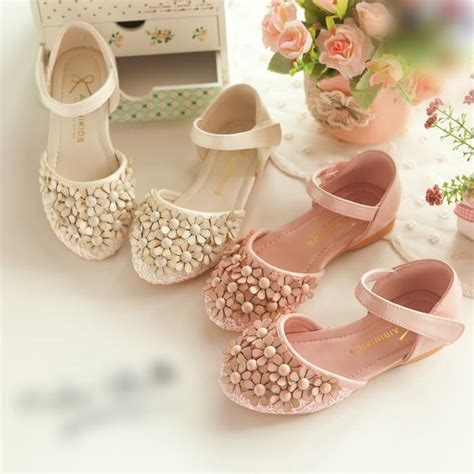 cute ivory pink flower kids shoes  wedding formal event