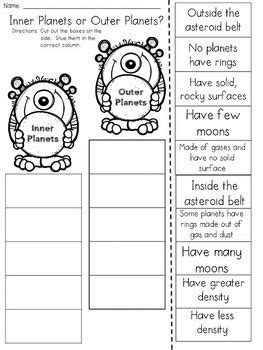 inner and outer planets cut and paste sorting activity by