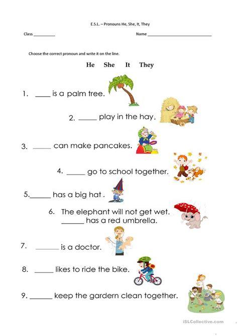 pronouns     worksheet  esl