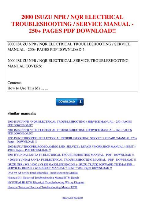2000 isuzu npr nqr electrical troubleshooting service manual 250 pages by nana hong issuu