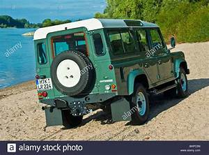 Rear view of classical Land Rover Defender 110 off road ...