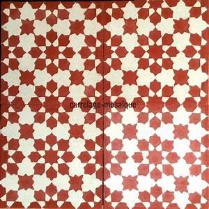 carreaux de ciment 1m2 modele prisma rouge carrelage With carreaux de mosaique