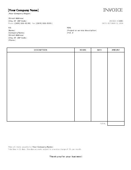 service invoice  hours  rates office templates