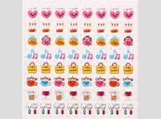 kawaii calendar stickers sweets animals hearts Food