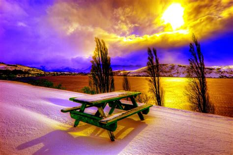 Winter Sunset 4k Ultra Hd Wallpaper  Background Image