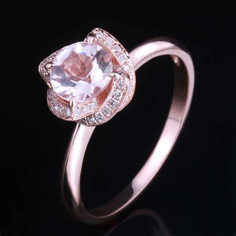 wedding ring roses diamonds 10k rose gold 6 5mm cut halo pink morganite engagement ring ebay