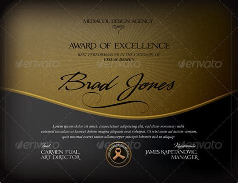 sample certificate  excellence templates