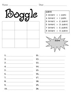 I Already Made A Boggle Template But I Love The Scoring Part Of This Sheet  Ideas For School