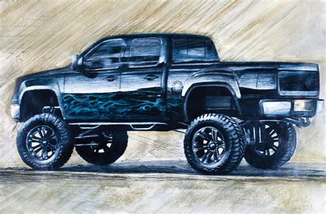 lifted jeep drawing sketch of black lifted chevrolet silverado truck drawing