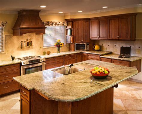 craftsman kitchen costa esmeralda granite desk island