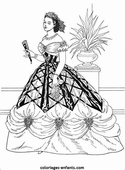 Princesses Coloriages Coloring Adults Victorian Belle Ausmalbilder