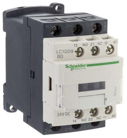lc1d09bd tesys d lc1d 3 pole contactor 3no 9 a 4 kw 24 v dc coil terminal