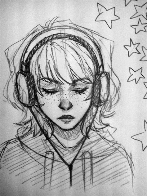 girl listening    headphones drawing  people