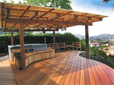 wood deck concrete patio home design ideas