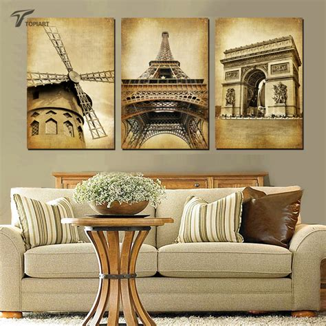 Home Decor Paintings 3 Panel Classic Paris Oil Painting On