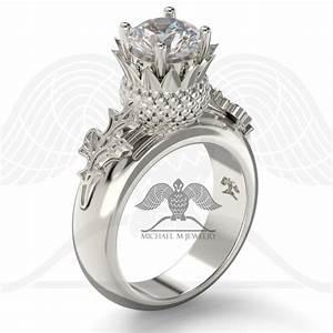 thistle flower leaf scottish engagement ring large stone With scottish wedding rings
