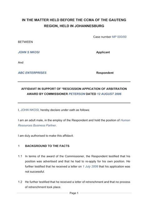 affidavit  support  rescission document labour law