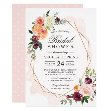 Floral Bridal Shower Invitations - geometric blush watercolor floral bridal shower invitation