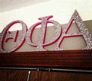 greek letters theta phi alpha gllitter and pink love With giant greek letters