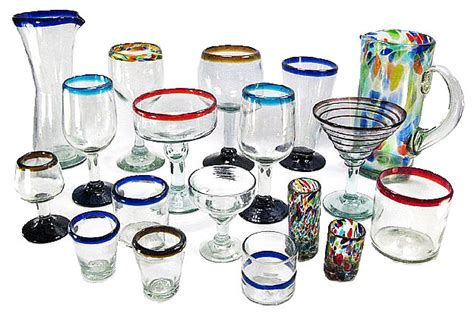 Barware Drinking Glasses, Authentic Hand-blown Mexican