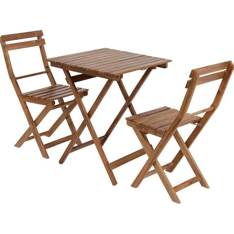 table chaise exterieur salon de jardin acacia bois marron 1 table et 2 chaises