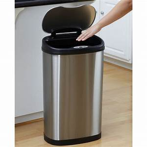Stainless, Steel, 13, Gallon, Touchless, Kitchen, Trash, Can