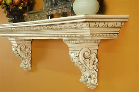 A Heavy, Large Mantel Shelf With Solid Wood Acanthus Leaf