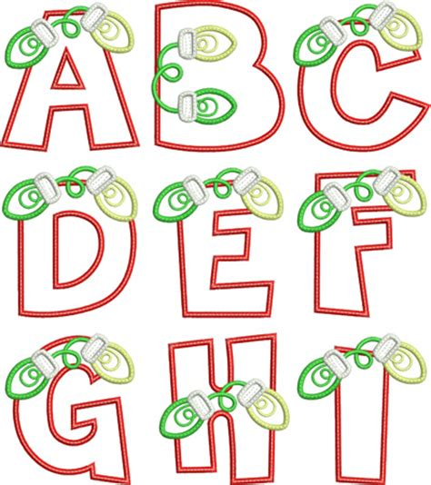 lights applique alphabet digistitches machine embroidery designs - Christmas Light Letters