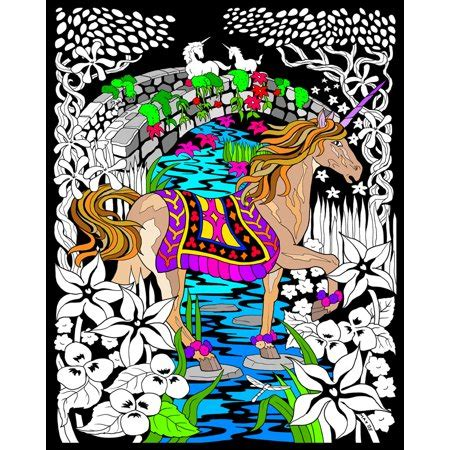 unicorn bridge fuzzy velvet coloring poster  inches