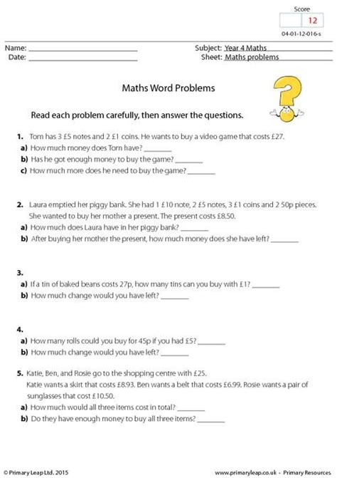 year 7 maths word problems worksheets uk fractions of
