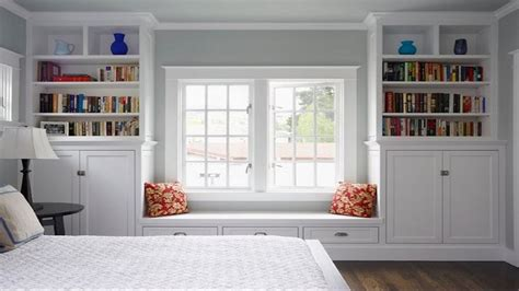built  shelves cabinets drawers  window seat large