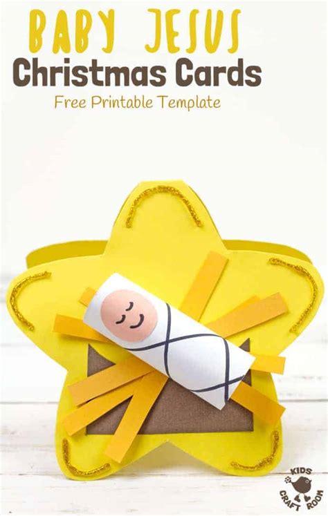 printable baby jesus christmas card template kids