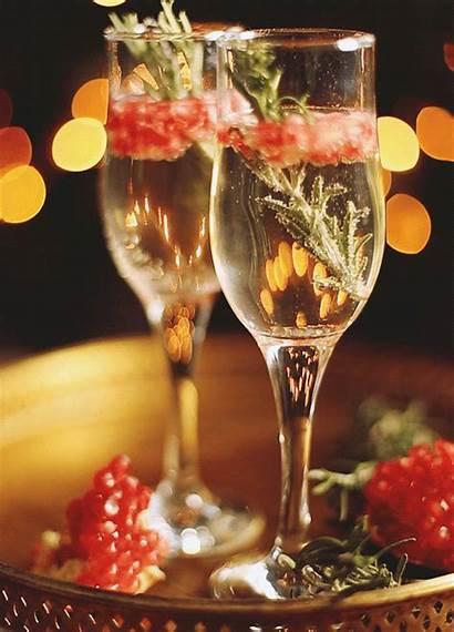 Champagne Kitchen Merry Pomegranate Rosemary Happy Holidays