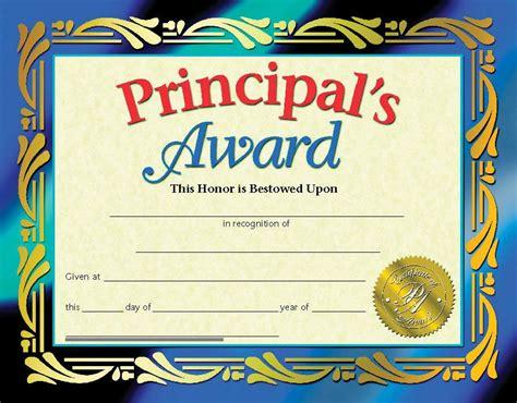 principals award certificate graduation   year