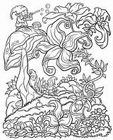 Coloring Adults Floral Adult Forest Digital Fantasy Abstract Detailed Gnomes Version Flower Bestcoloringpagesforkids sketch template